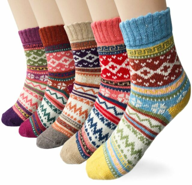 Loritta 6 Pairs Womens Socks Comfy Dress Colorful Knit Cotton Vintage Socks Gifts