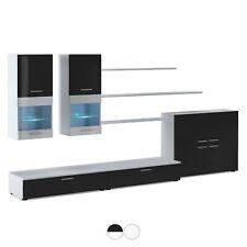 Mueble salón comedor moderno con Leds y vitrina, Blanco Mate y Negro,...