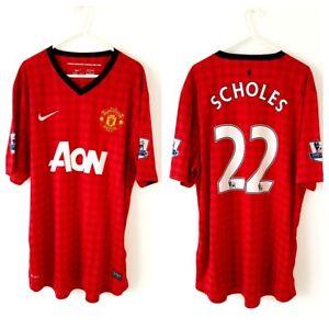 25e73dc3b Manchester United Scholes Home Shirt 2012. XL. Nike. Red Adults Man ...