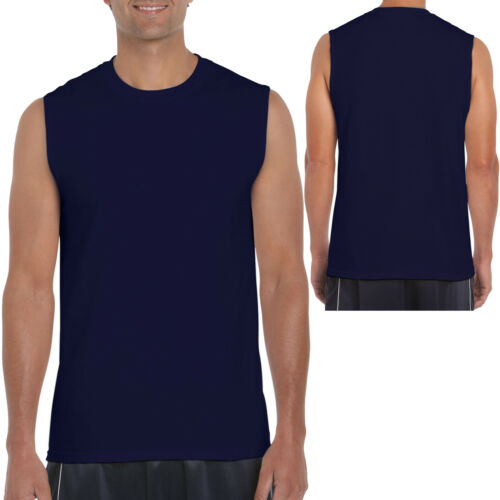 2X GILDAN MENS TANK TOP Preshrunk Cotton Sleeveless Muscle Tee T-Shirt S,M,L,XL