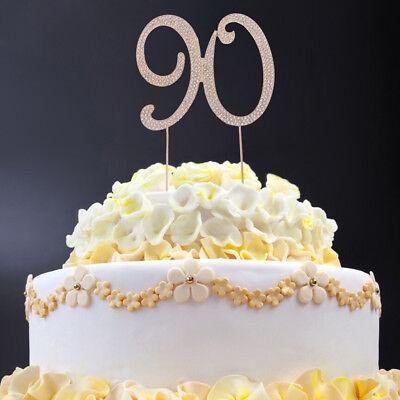 Wondrous 90Th Birthday Number Cake Topper With Sparkling Rhinestone Crystal Personalised Birthday Cards Veneteletsinfo