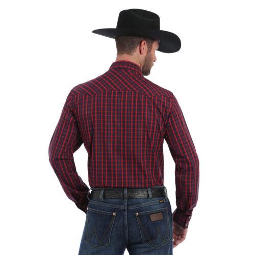 MVG225M Wrangler Men/'s Red /& Navy Plaid Long Sleeve Western Shirt NEW