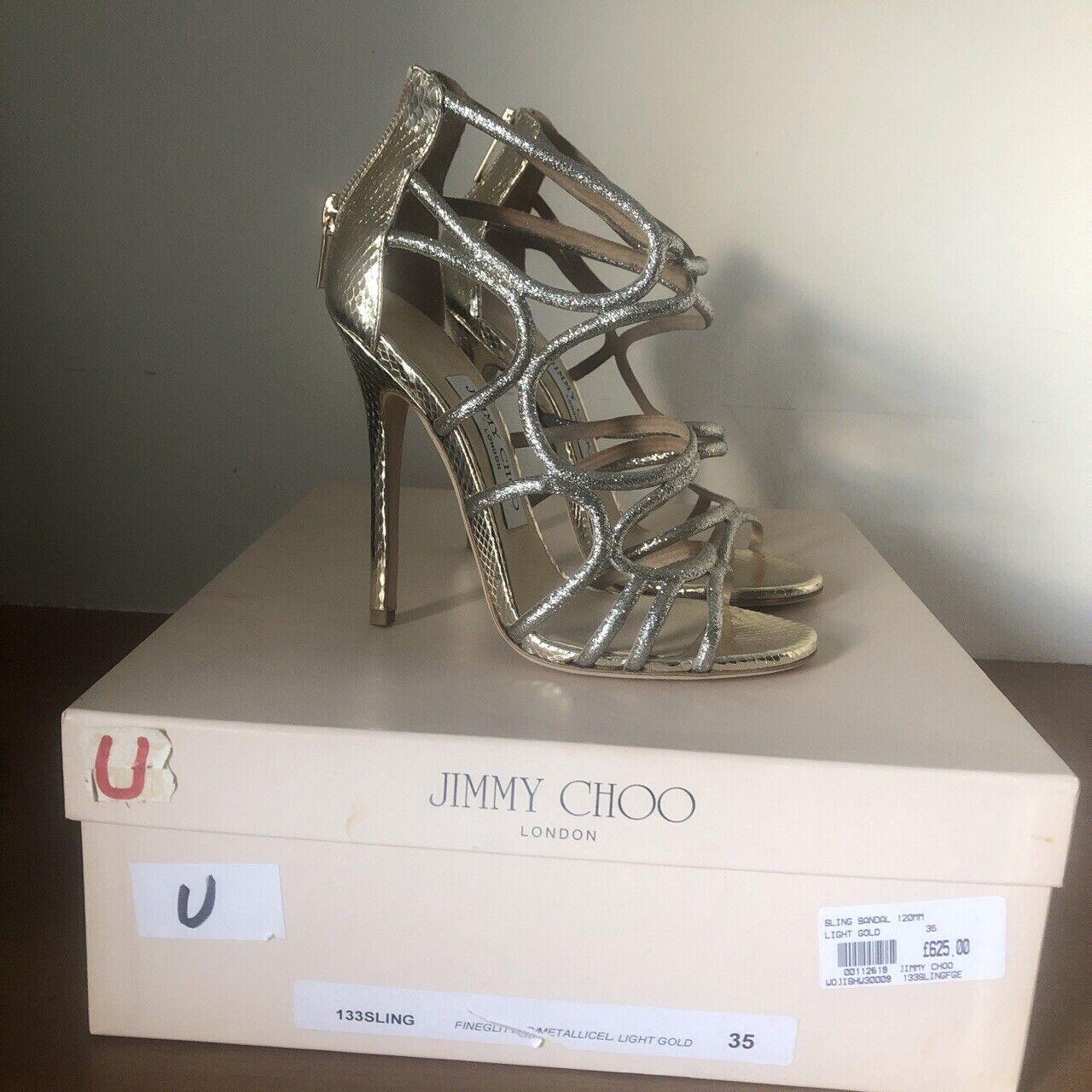 Stunning Metallic Jimmy Choo Strappy Heels oro Champagne Dimensione 35  (si adatta 36)  marchi di moda