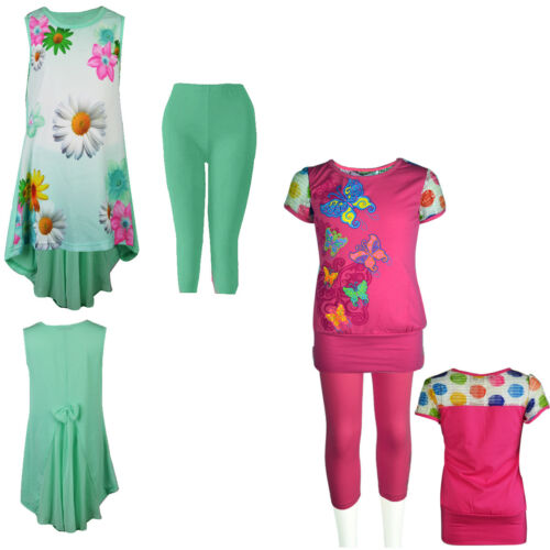 50/% OFF SALE Girls Kids Floral Fishtail Back Bow flared Dress with Legging Set