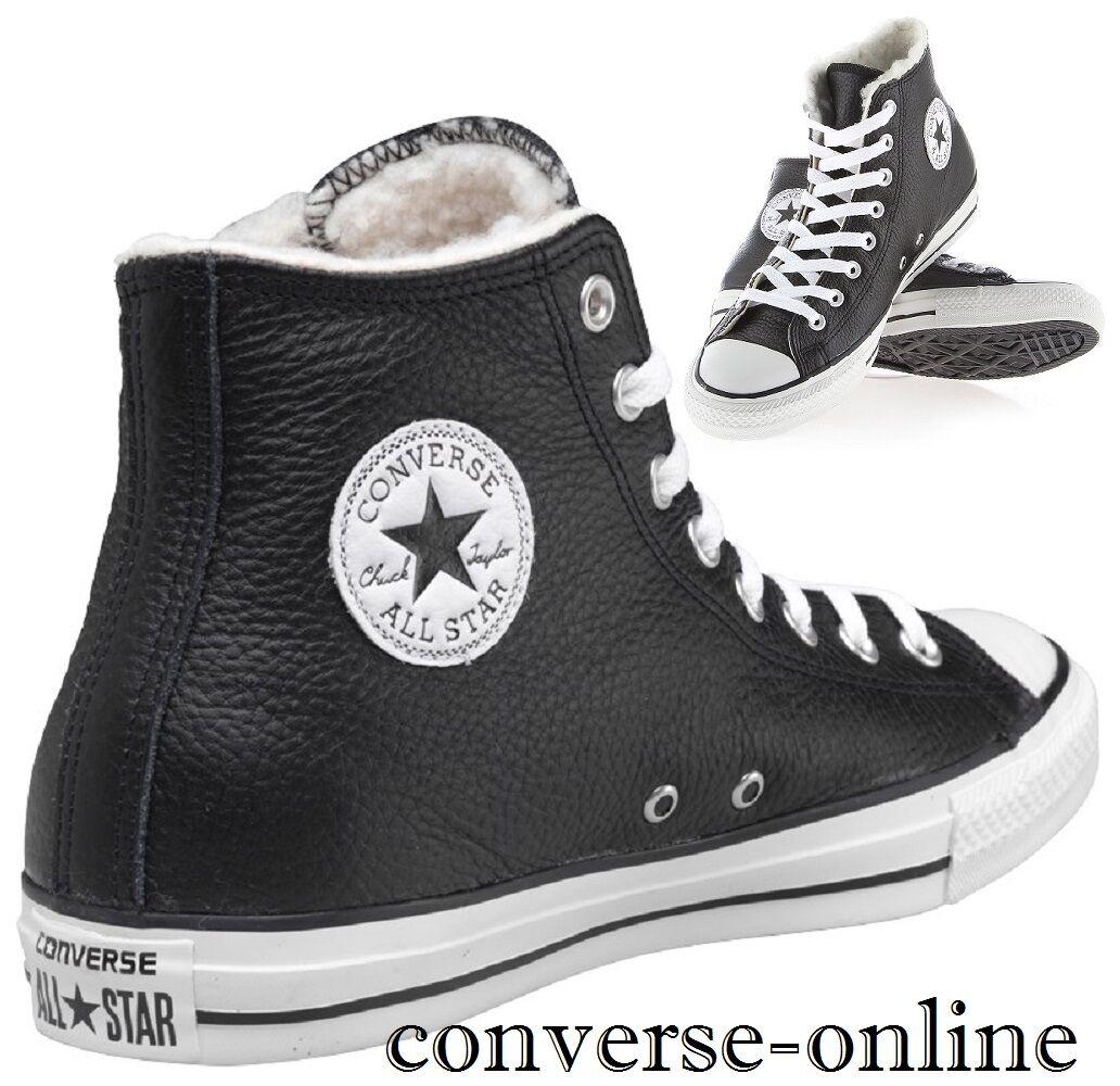 mujers mujeres Converse All Star Star All Hi Negro Botas De Cuero de Piel de Oveja entrenador UK Size 7.5 5c87d0
