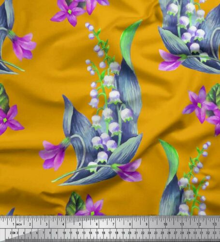 Bell /& periwinkle Blumen FL-1423K Soimoi Stoff Blätter Stoff BTM bedrucken