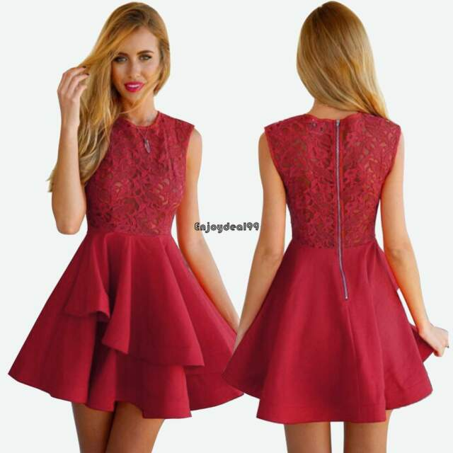 New Women Lace Short Dress Prom Evening Party Cocktail Bridesmaid Formal Dresses
