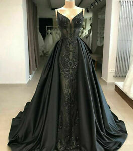 Black Gothic Lace Evening Wedding Quinceanera Dresses Formal Prom Party Gowns