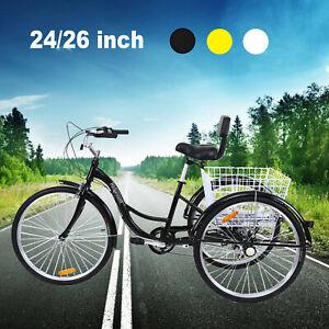 7-Speed-24-034-26-034-3-Wheel-Tricycle-Trike-Bicycle-Cruise-w-Basket-Ridgeyard