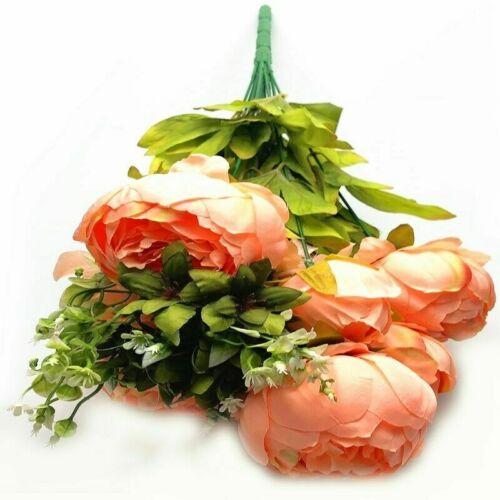 13 Heads Silk Peony Artificial Flowers Peony Wedding Bouquet Home Party Decor
