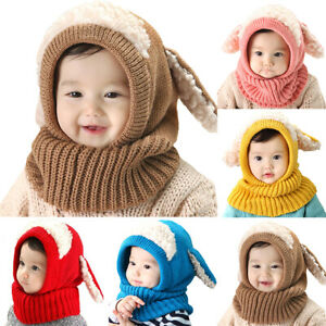 Kids Girl Boy Baby Winter Warm Crochet Beanie Hat Earflap Hood Knit Cap Scarf