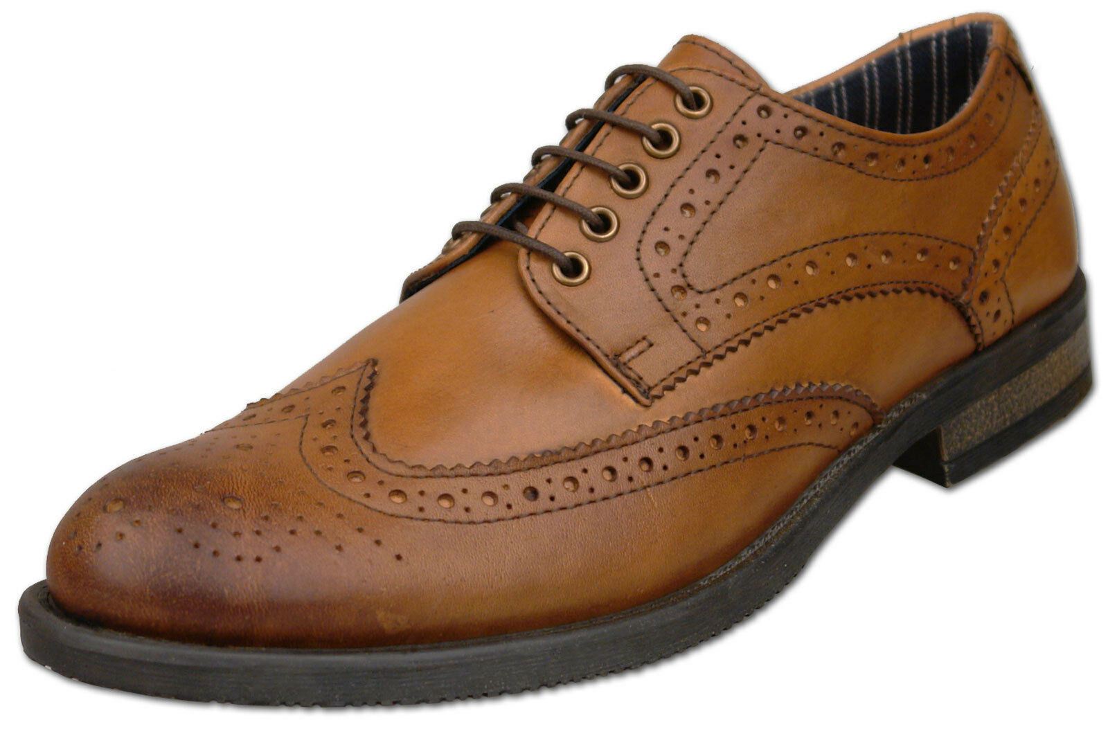 Uomo Lace Brand New Tan Leder Lace Uomo Up Formal Brogue Schuhes Größe 6 7 8 9 10 11 12 a58619