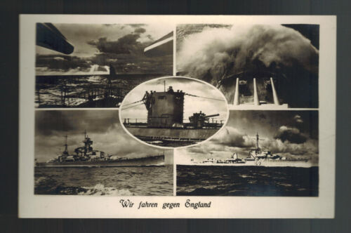Mint WW2 Germany Navy Real Picture Postcard We Are Going Against England Ships