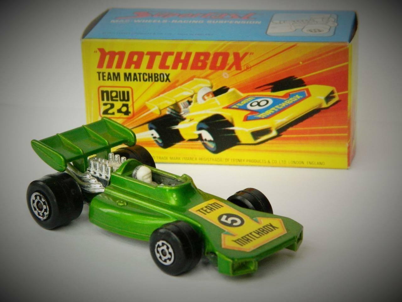 MATCHBOX SUPERFAST VINTAGE 1973 TEAM MATCHBOX RARE GREEN RACING CAR No.24 MIB
