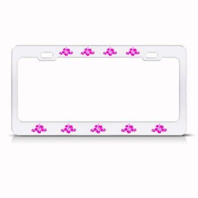 #1 MOM PINK HIBISCUS FLOWER License Plate Frame Tag Holder