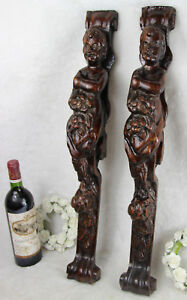 Antique-PAIR-French-wood-carved-putti-Angel-panels-cabinet-parts-baroque