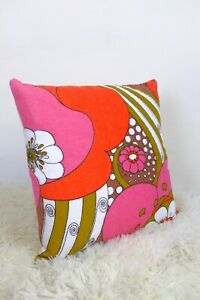 Original-Retro-Fabric-Cushion-Cover-70s-80s-16x16-034-Vintage-Pink-Red