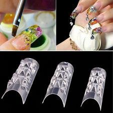 100pcs Mosaic Nail Art Transparent Acrylic Gel False Fake Nail Tips Salon Tool