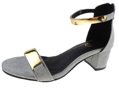 Ladies Pink Grey Soft Suedette Evening Party Sandals Low Block Heel Sizes UK 3-8