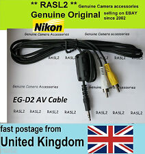 Original NIKON audio video AV cable EG-D2 D3s D300s D3X D7000 D3 D3100 D90 D2