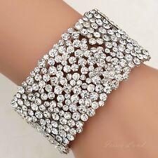 Rhodium Plated Clear Crystal Wedding Bangle Cuff Stretch Bracelet 09992 Prom
