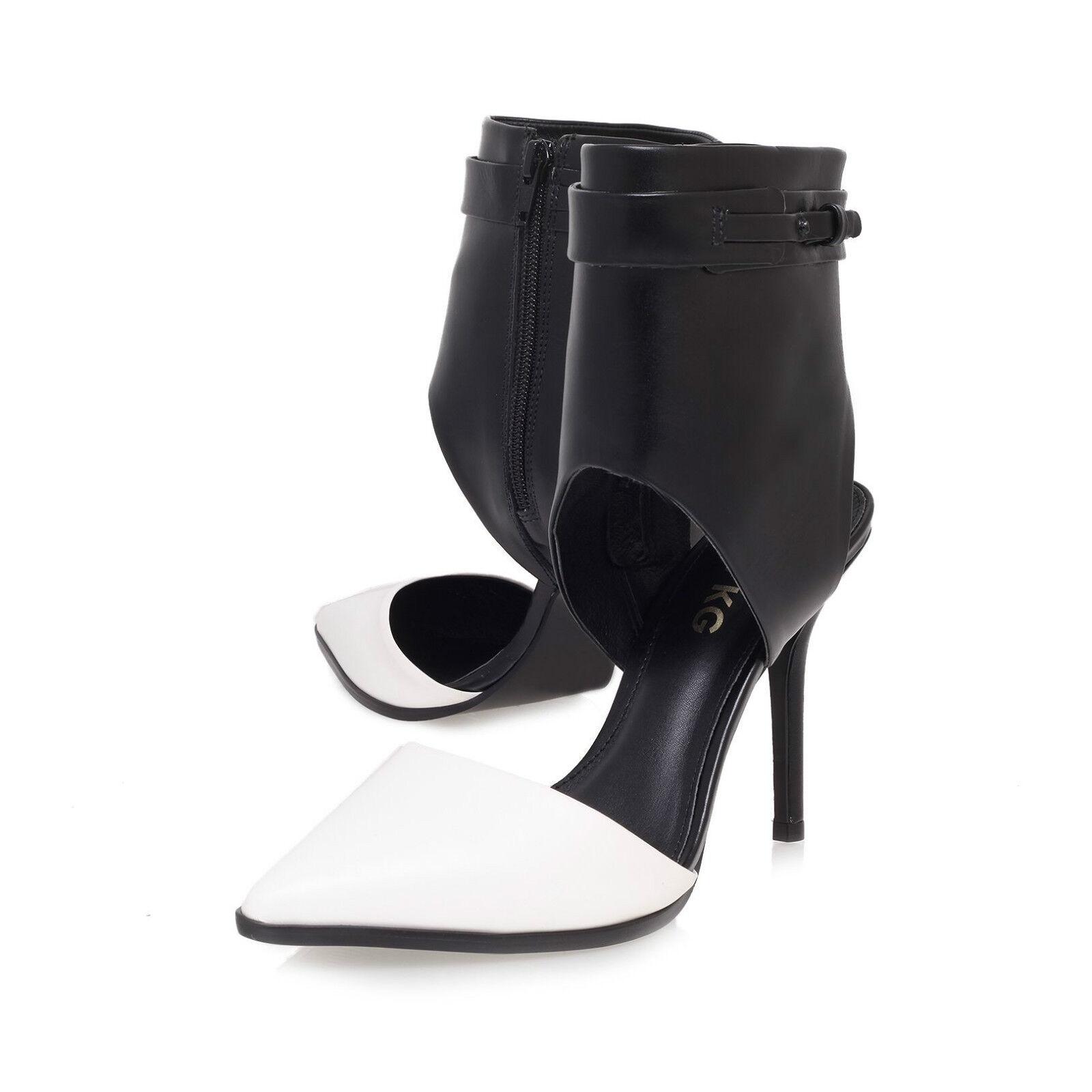 MISS KG Stiefel / BLACK & Weiß LEATHER / STILETTO Schuhe / UK  5  EU 38