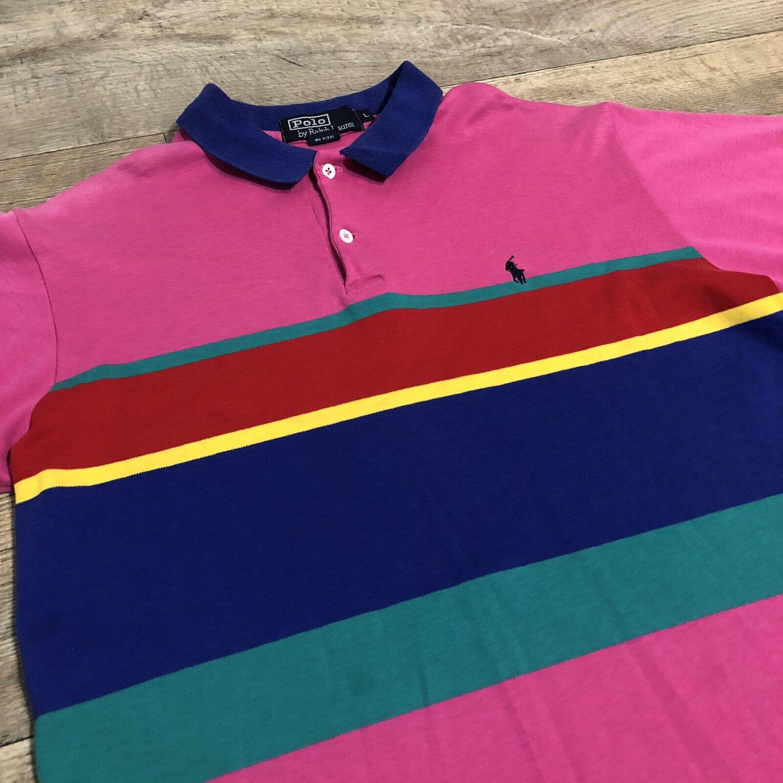 Vtg Ralph Lauren Polo Pink Striped Cotton Short S… - image 3