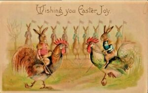 Antique-Postcard-Easter-Fantasy-Colonel-Rabbits-Bunny-Military-Roosters-c-1903