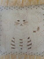 Vintage Colonial Cat Candlewicking Pillow Kit NIP Easy to Do!