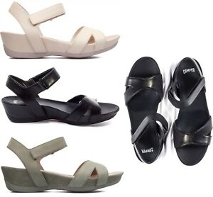 Camper-Women-NEW-Micro-Wedge-Ankle-Strap-Open-Toe-Summer-Sandals-Leather-Shoes