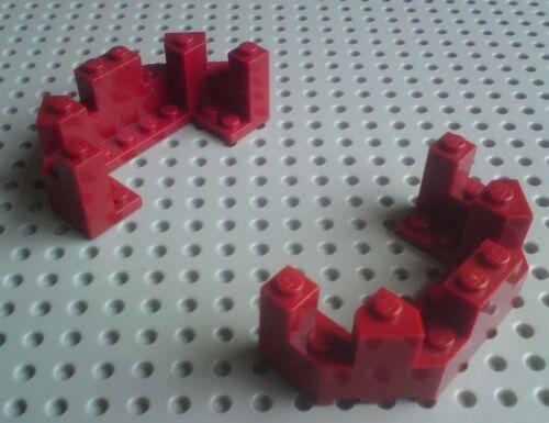 6066 Dark Red x2 Lego Battlements Turret Top 4x8x2&1/3 Half Octagon