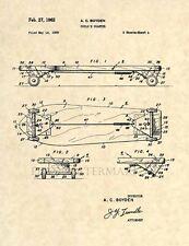 Official 1962 Skateboard Patent Art Print-Original deck truck Tony Hawk Skate237