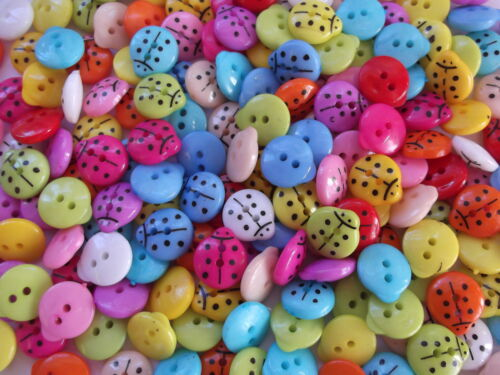 60 x LADYBIRD 2 HOLE RESIN 12X13MM  SEWING BUTTONS CRAFT ETC., SCRAPBOOKING
