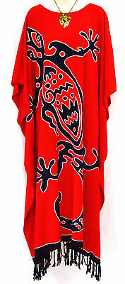 New GECKO Soft Kaftan Dress Maxi Long Tunic One Size Plus  Boho Blue Red Black