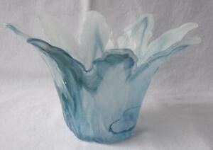 Genuine Italian Art Glass Bowl Blue Color Tammaro Made in Italy Murano No 391