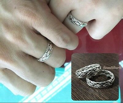 Bali Weave Wedding Promise Mens Women Sterling Silver 925 Couples Ring Sz 8 9 10