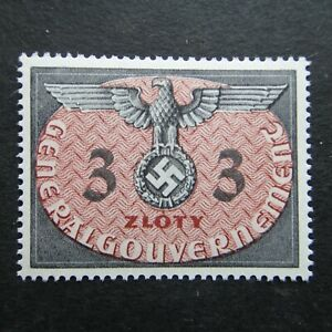 Germany Nazi 1940 Stamp MNH Swastika Eagle 3z Generalgouvernement WWII Third Rei