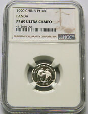 1990 China 1/10oz platinum panda coin Pt10Y NGC PF69