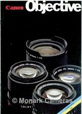 Canon Objective, FD Camera Lens Range Sales Brochure from 1981. Others Listed