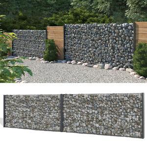 das bild wird geladen gabione steinkorb sichtschutz 1230mm anthrazit steinzaun gabionenzaun zaun