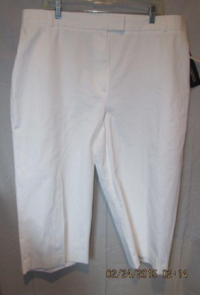 GORGEOUS LOUBEN WOMAN WHITE STRETCH CAPRI CROPPED PANTS SZ 24W NWTGS  RETAIL