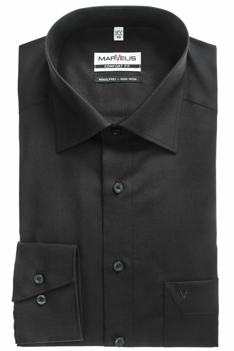 Black Poplin Spread Collar