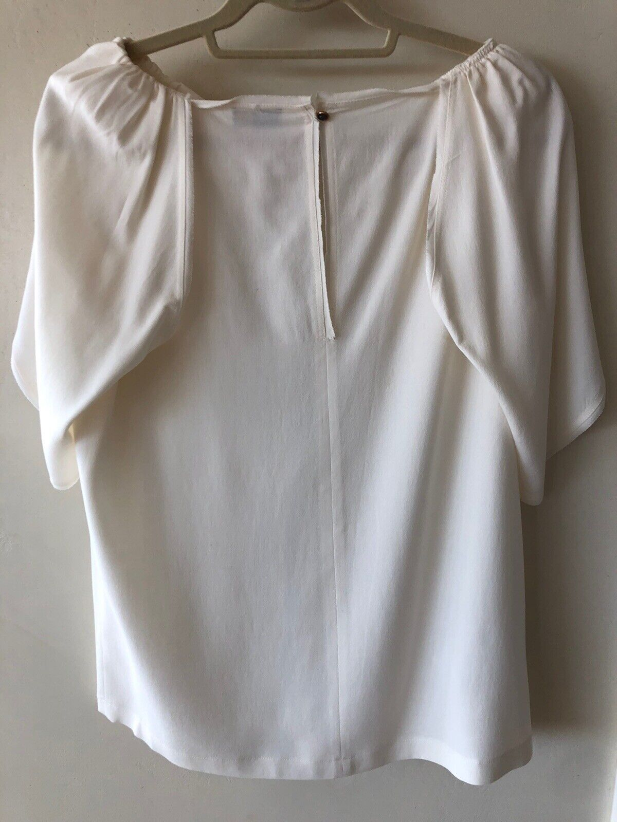 FENDI Silk Ruffle White Ivory Top Blouse SZ 44 - image 3