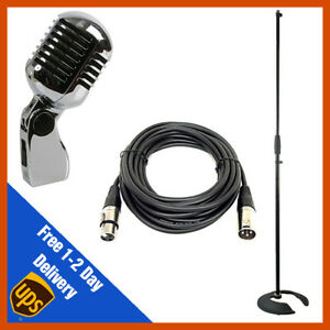 Retro-Annees-50-microphone-vintage-chrome-filaire-vocal-Elvis-avec-XLR-Cable-amp-Stand