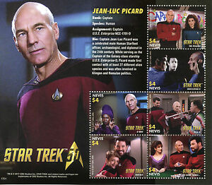 Nevis-2017-MNH-Star-Trek-50th-Ann-Jean-Luc-Picard-Next-Generation-6v-M-S-Stamps