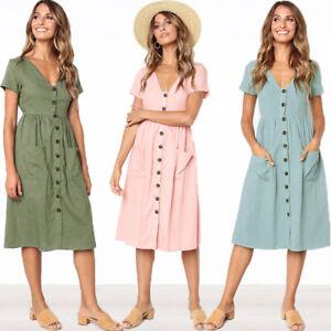 Women Summer V Neck Dress Beach Button Pocket Midi Swing Sundress Dress S-XL AU