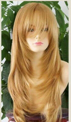 Fashion Women's Heat Resistant Long Dark Gold Curly Cosplay Hair Full Wig Wigs
