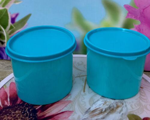 Tupperware Mini Canisters Container Aqua Set of 2 20 Oz 600mil New !!!!