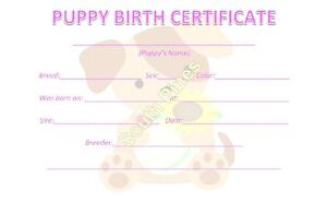 5 Puppy Birth Certificates - Dog litter - Breeder Supplies - Forms ...