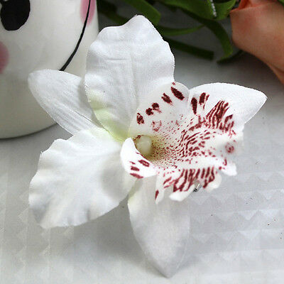 Women Girls Beach Vacation White Orchid Flowers Hair Clip Hair Pin White